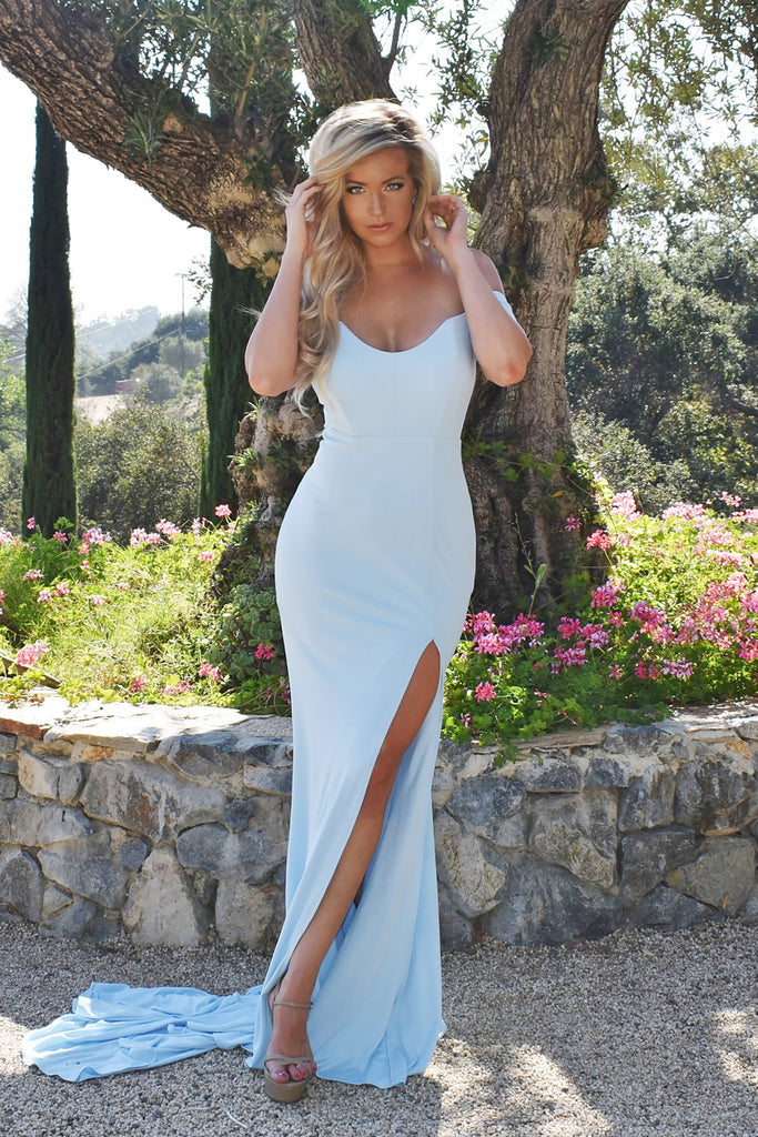 rene the label light blue off the shoulder prom dress