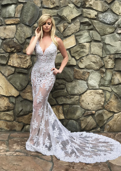 sheer sexy beaded white bridal dress