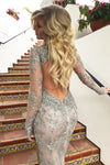 silver open back beaded pageant dress
