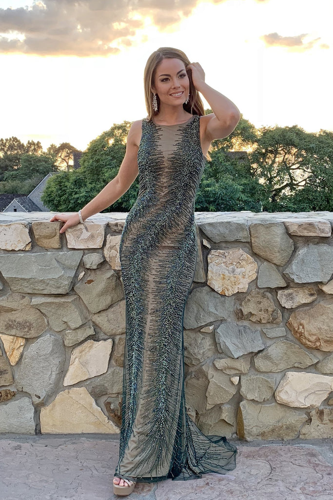 rene the label dlynn gown green beaded