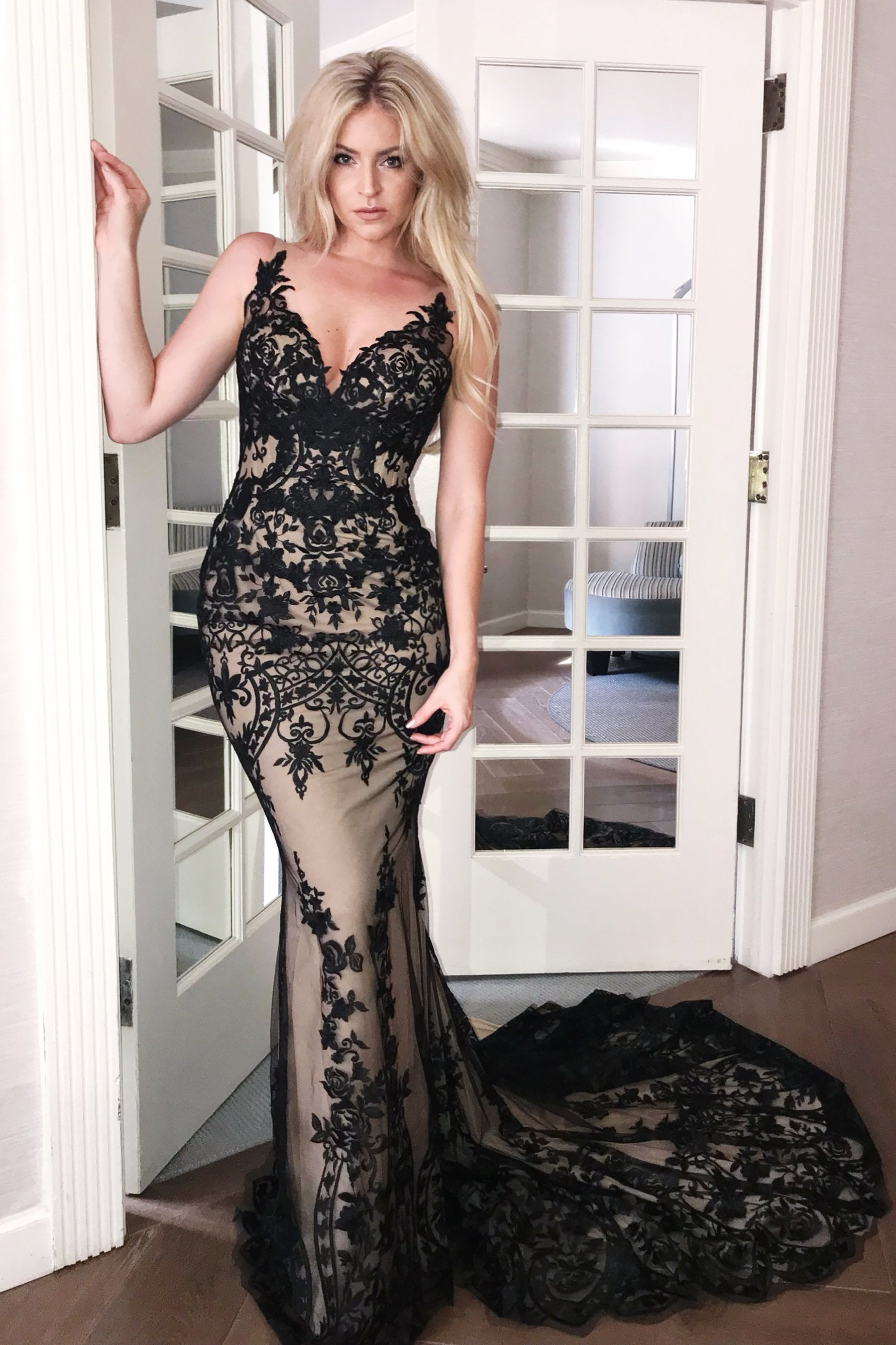 rene atelier Hampton black lace evening dress