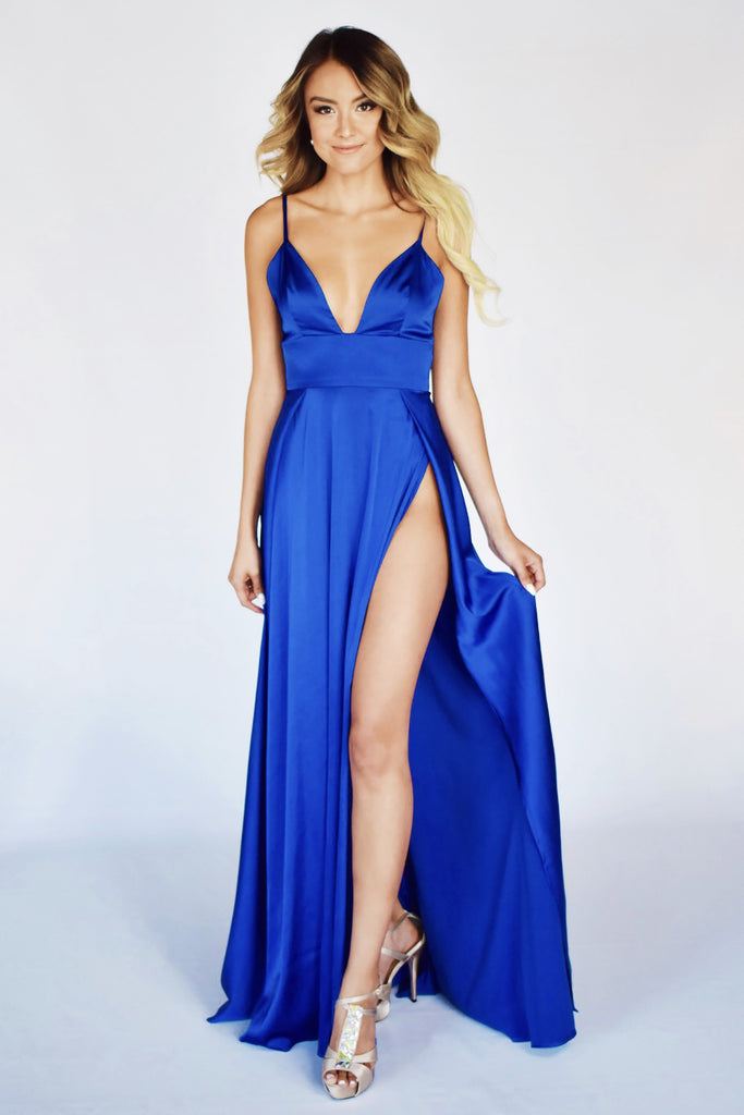rene the label ibiza blue double slit dress