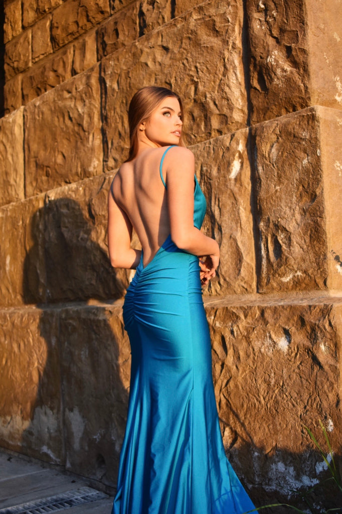 atria 6566 low back fitted prom dress