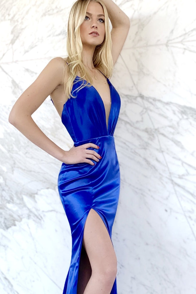 Royal blue satin prom dress with a low back