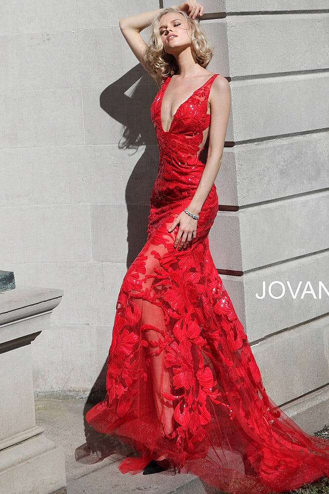 jovani 60283 red sheer prom dress