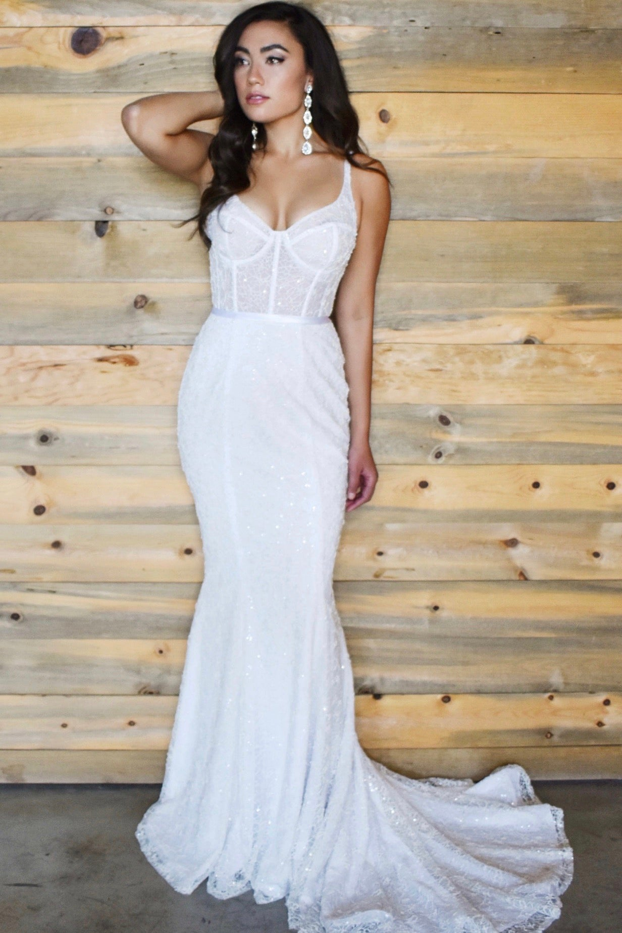 The carson gown beaded sheer bustier bridal gown