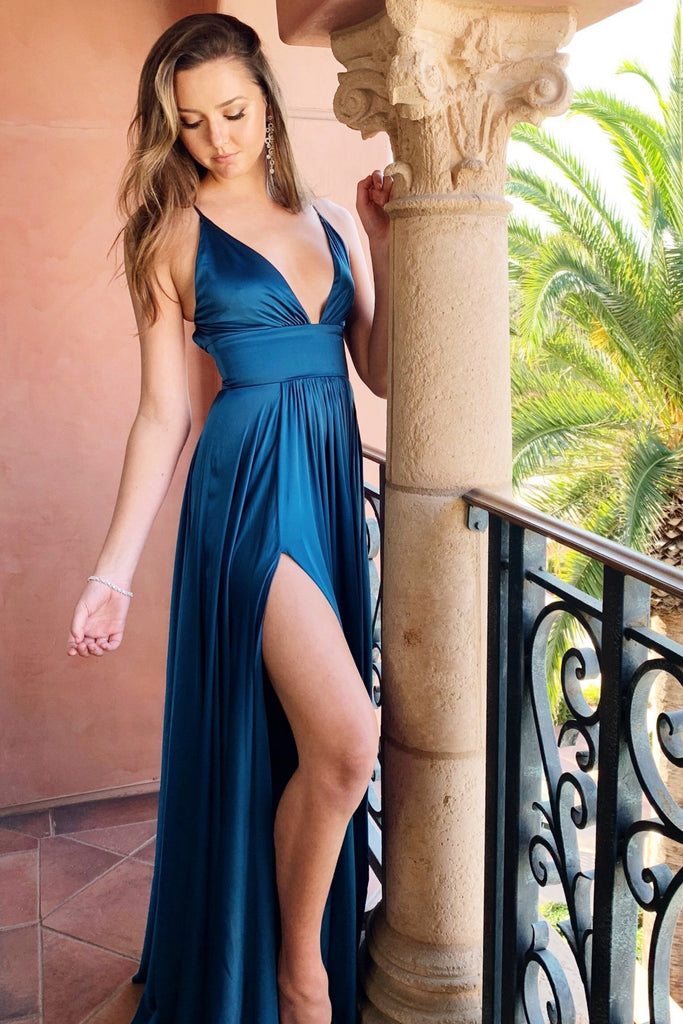 teal bridesmaid long dress