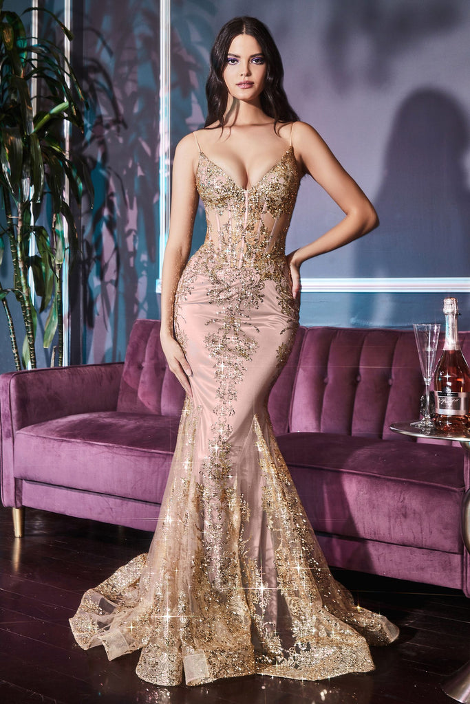 The Leanor long fitted sparkle prom dress