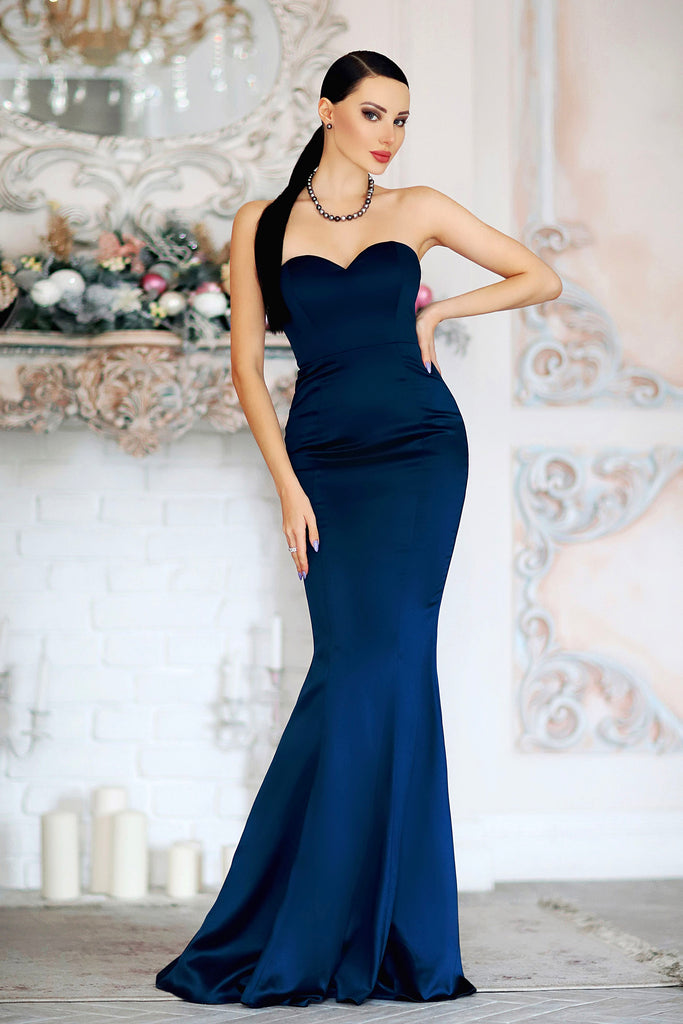 navy blue strapless mermaid long dress