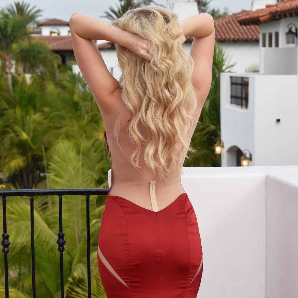 sexy low back red satin evening dress