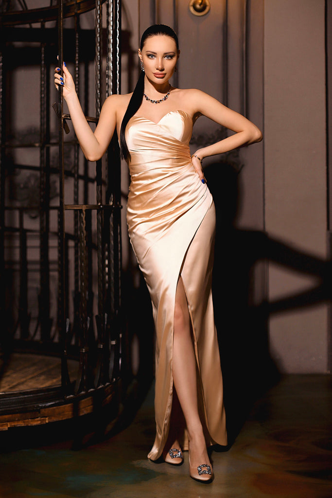 jp102 champagne strapless satin formal dress