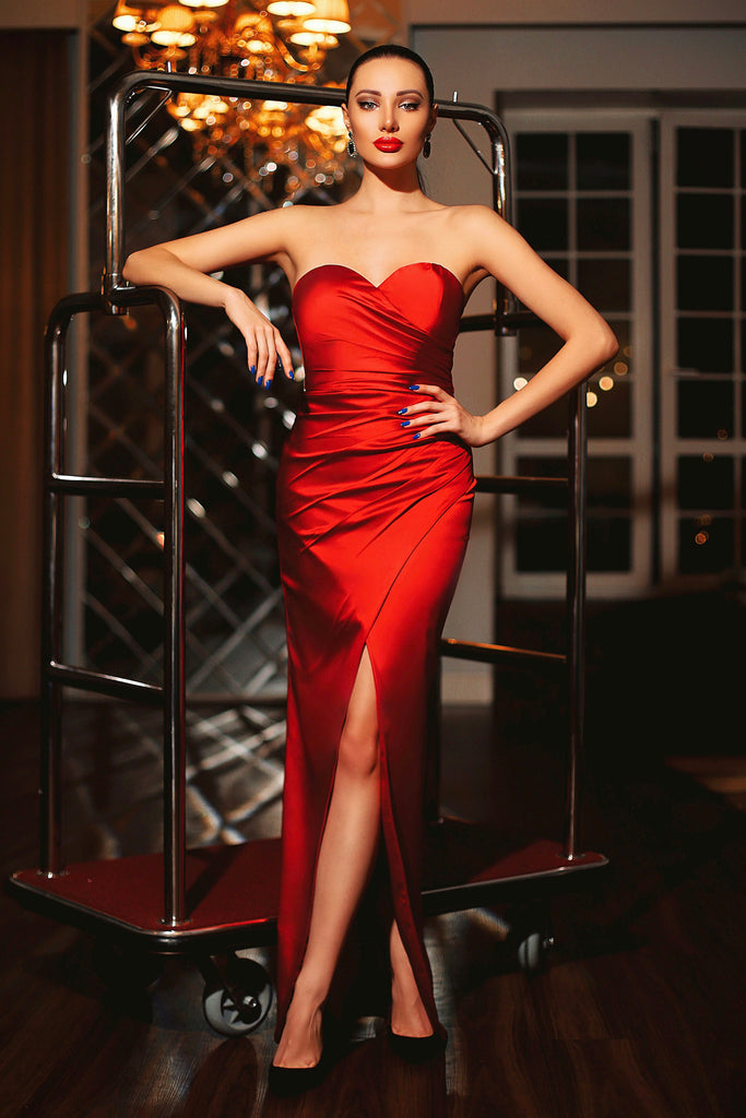 jp102 red strapless satin formal dress