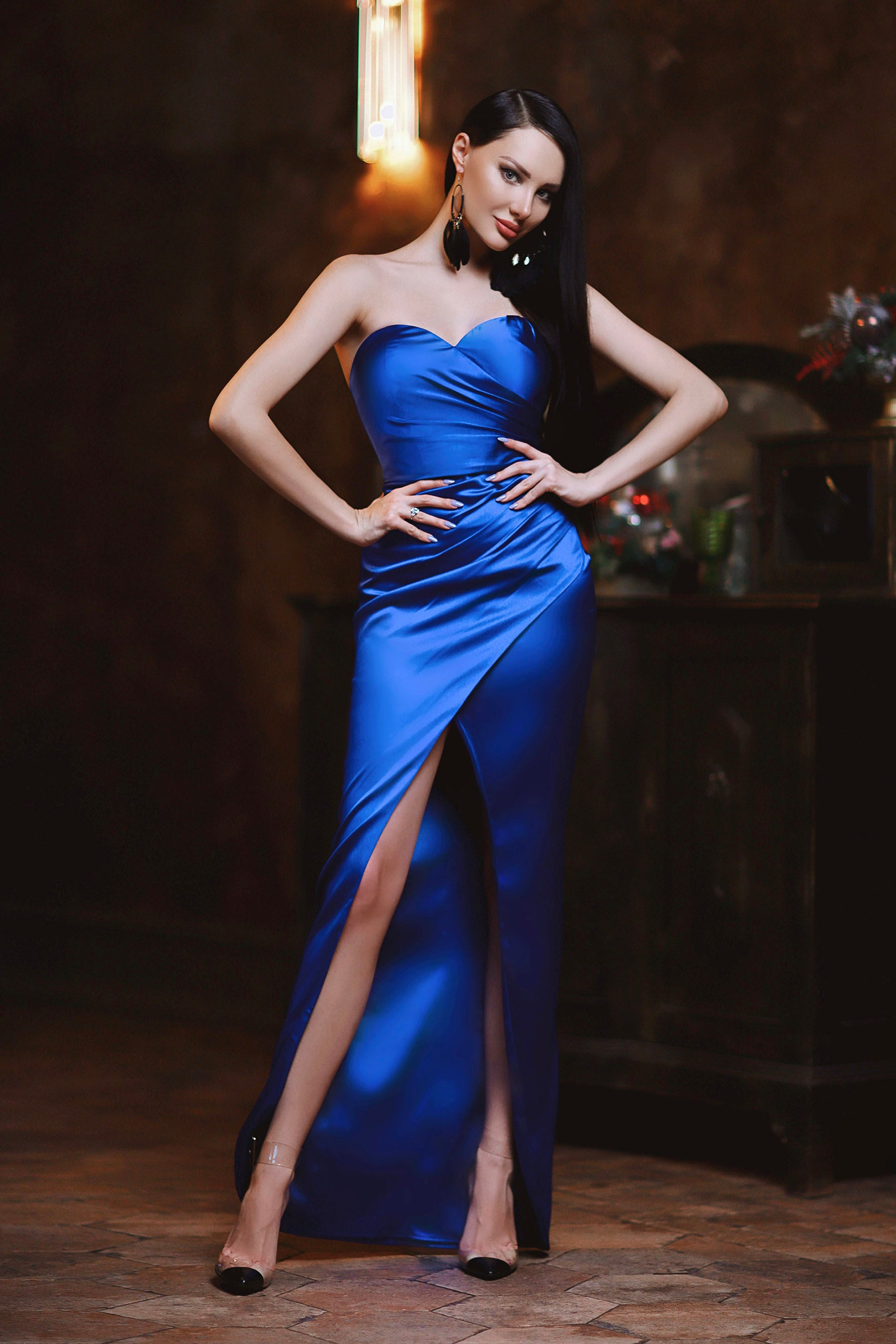 jp102 royal strapless satin formal dress