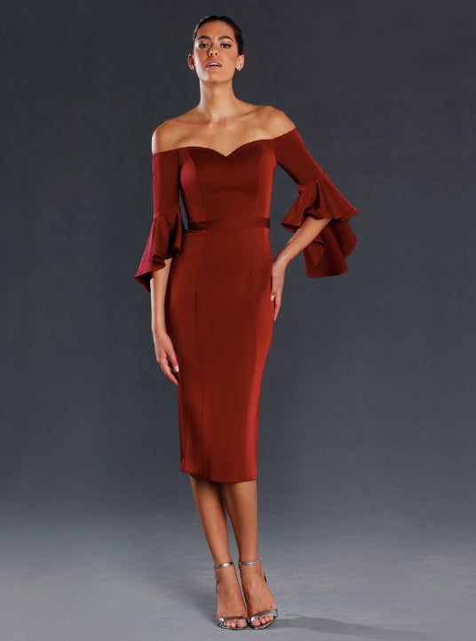 j'adore off the shoulder cocktail dress
