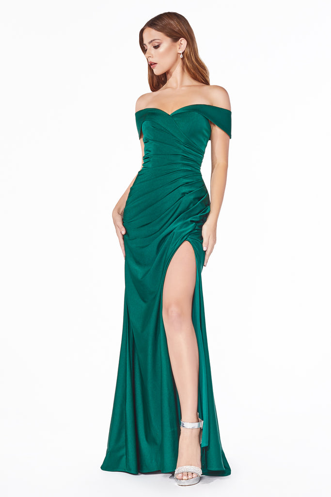 emerald green off the shoulder bridesmaid