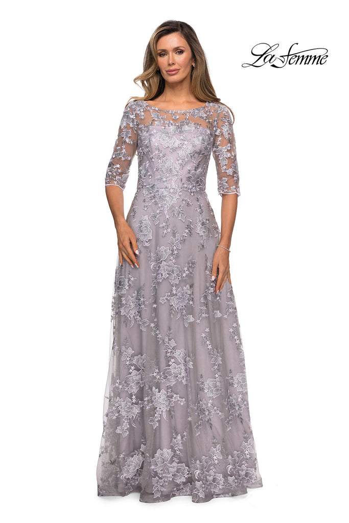 La Femme 27854 gray mother of the bride dress