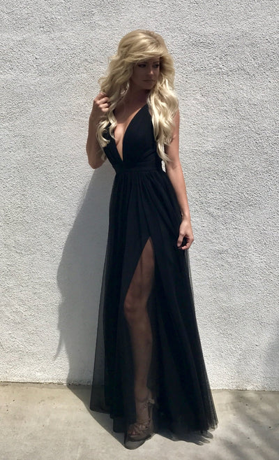 black tulle double slit long dress
