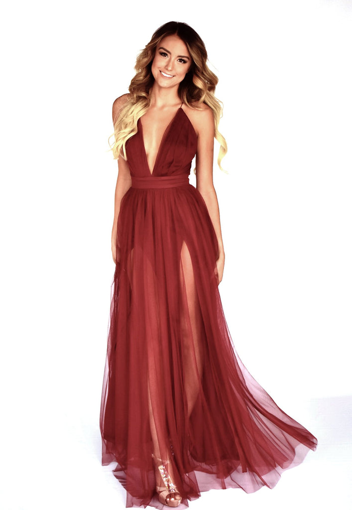 rene the label maui gown in wine