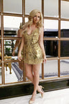 low back gold short prom dress