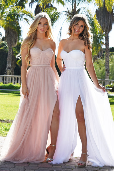 blush bustier tulle prom dress