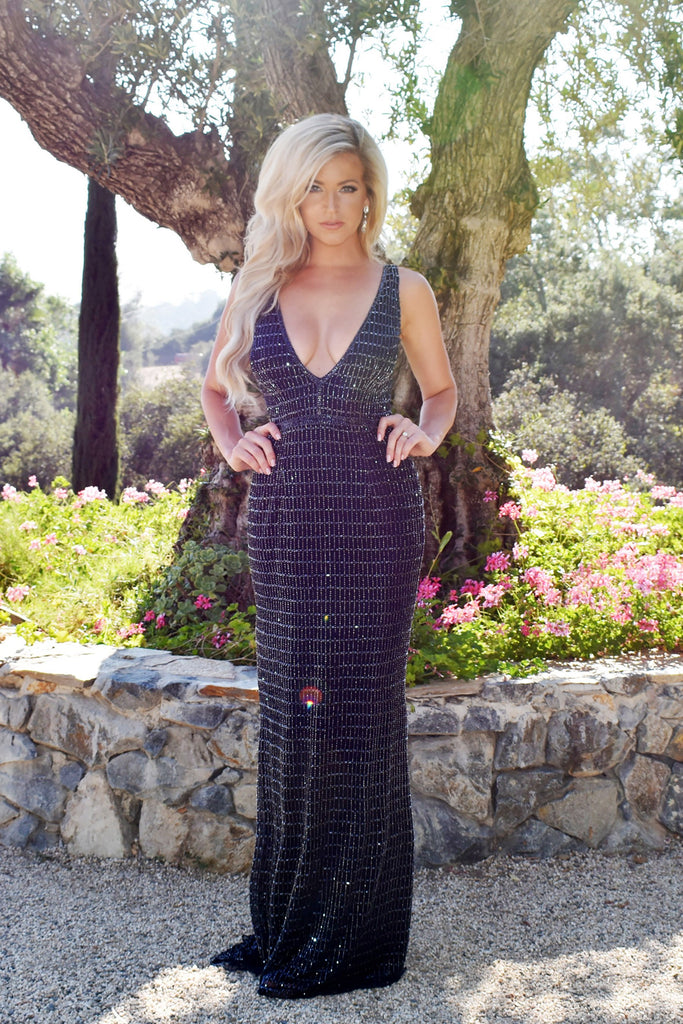 rene the label navy blue beaded long dress