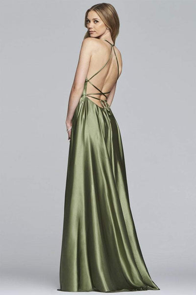 faviana low back satin prom dress
