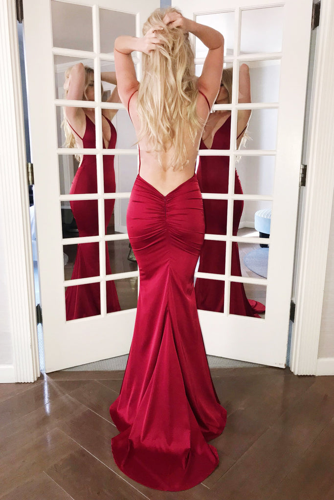 rene the label sicily gown red low back dress