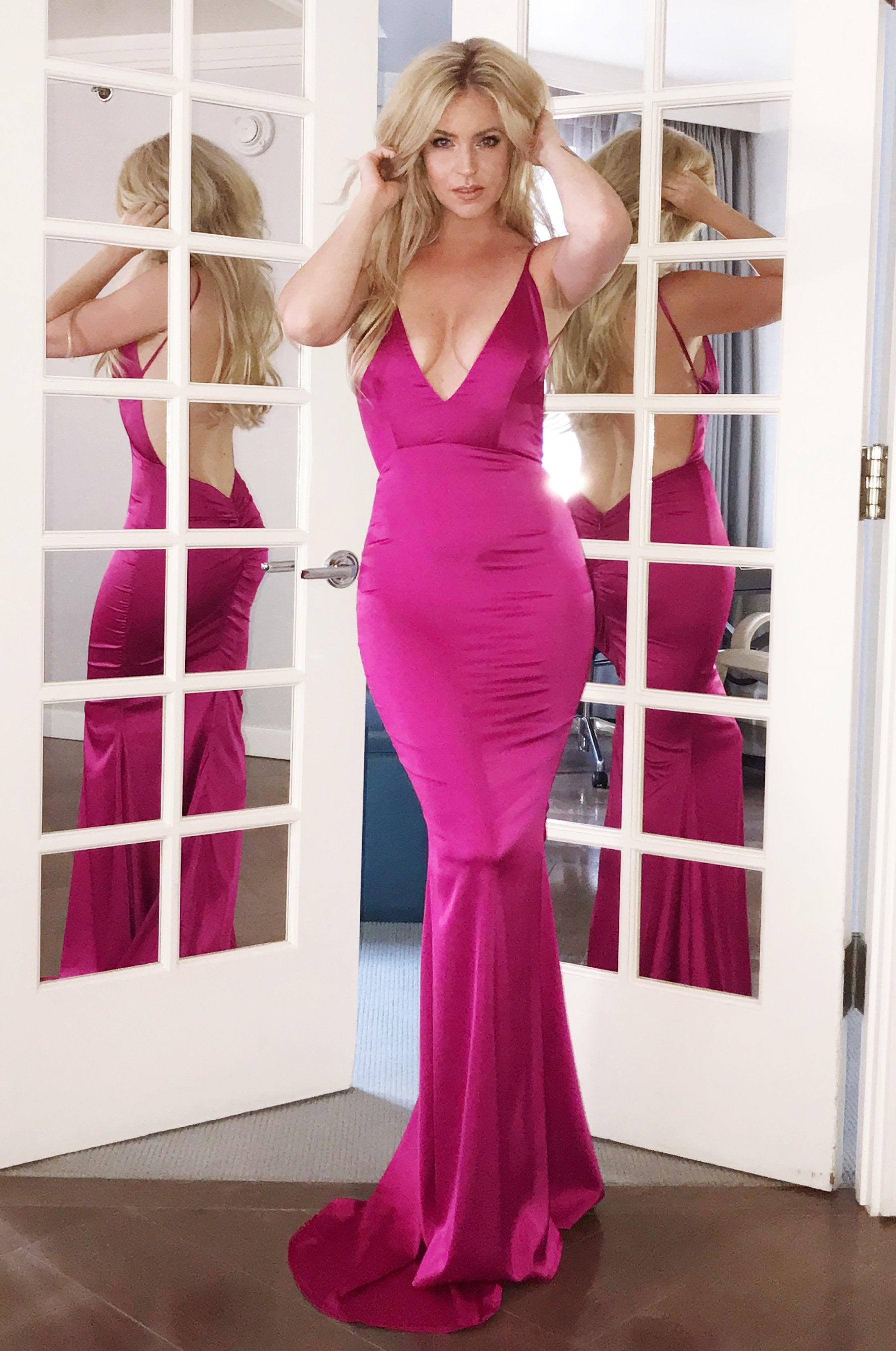 rene the label sicily gown pink low back dress