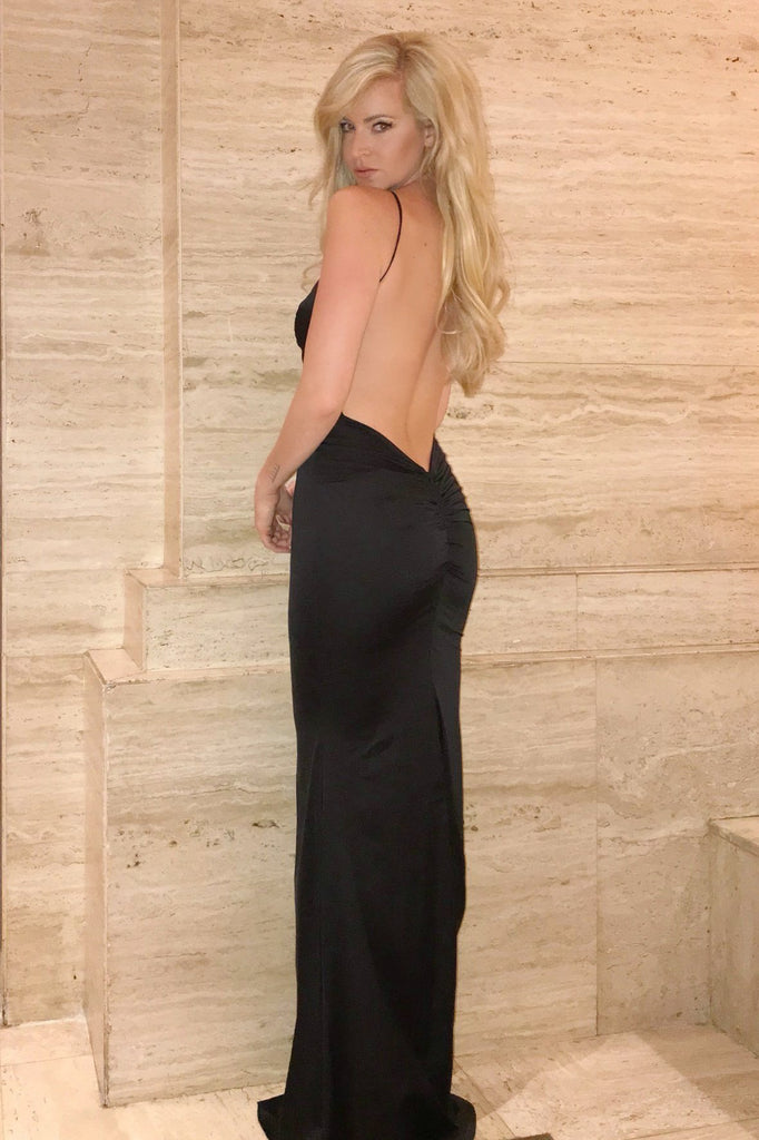 black low back prom dress