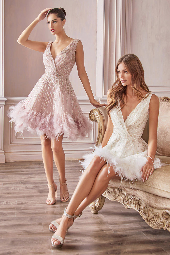 Andrea and leo a1012 feather dress