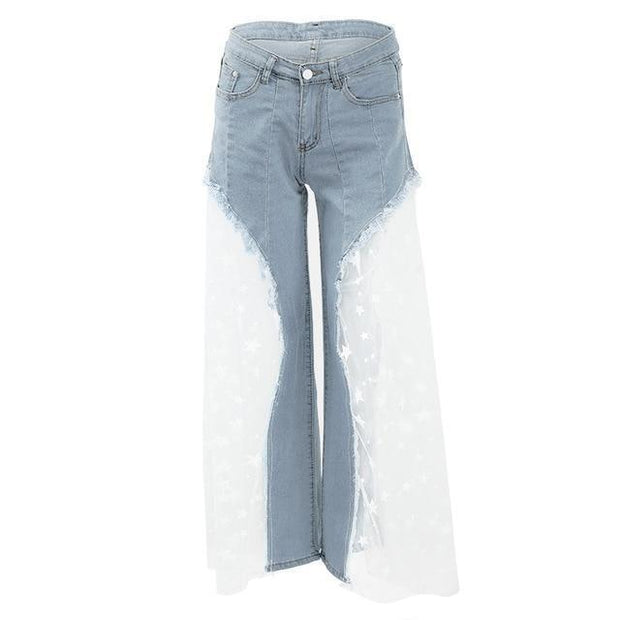 Women's Splice Loose Denim Pants - ByDivStore