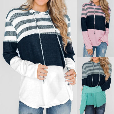 Women's Striped Drawstring Hoodie - ByDivStore
