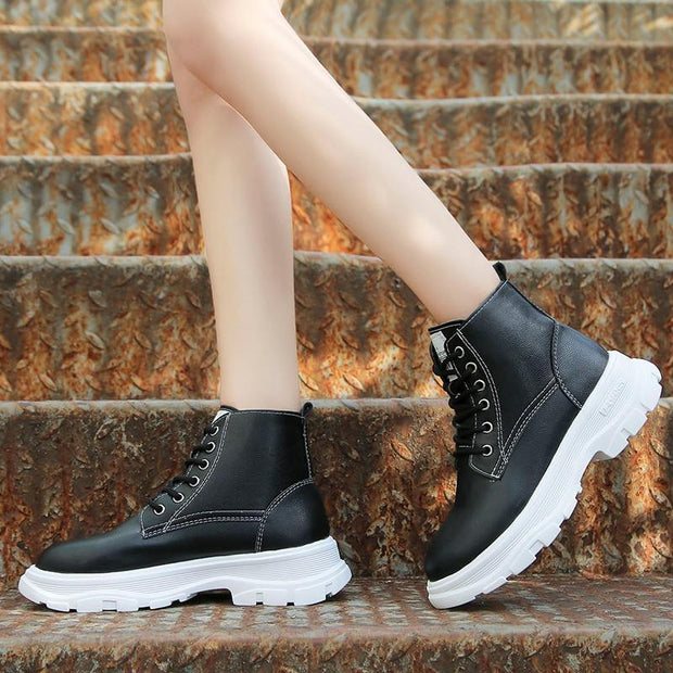 Women's Lace Up Combat Snow Boots - ByDivStore