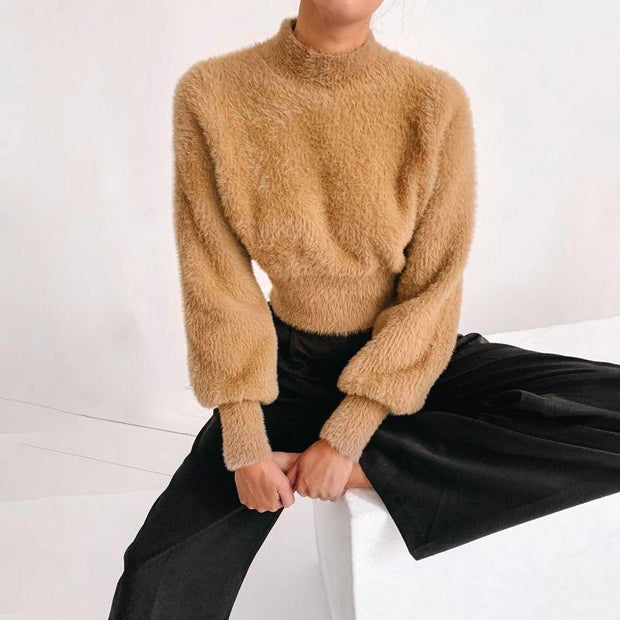 Puff Sleeve Knit Sweater -  bydivstore11