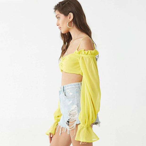 Chiffon Cropped Top -  bydivstore11