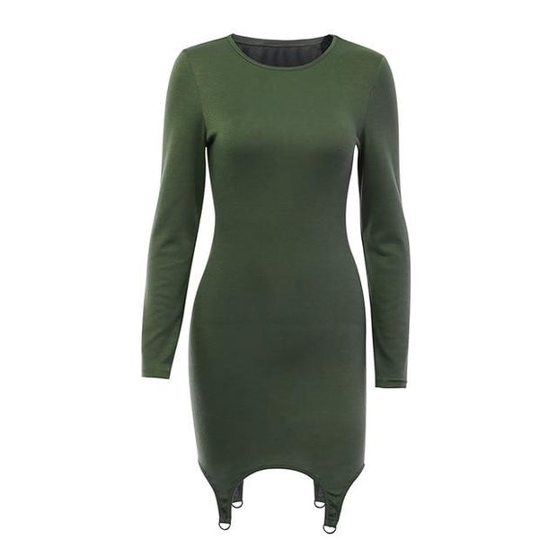 O-Neck Long Sleeve Dress -  bydivstore11