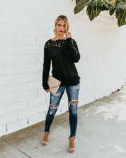 Black Lace Hollow Sweater -  bydivstore11