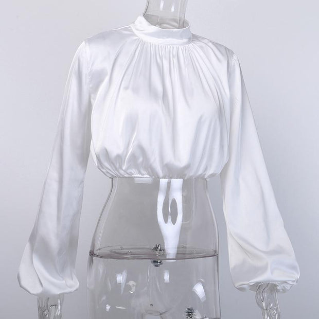 Satin Cropped Blouse -  bydivstore11