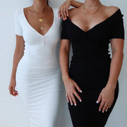 V-Neck Stretchy Dress -  bydivstore11