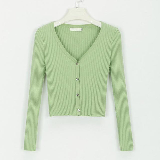 Cropped Knitted Cardigan -  bydivstore11