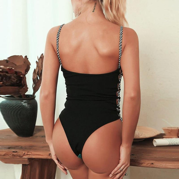 Lace Up Swimsuit -  bydivstore11