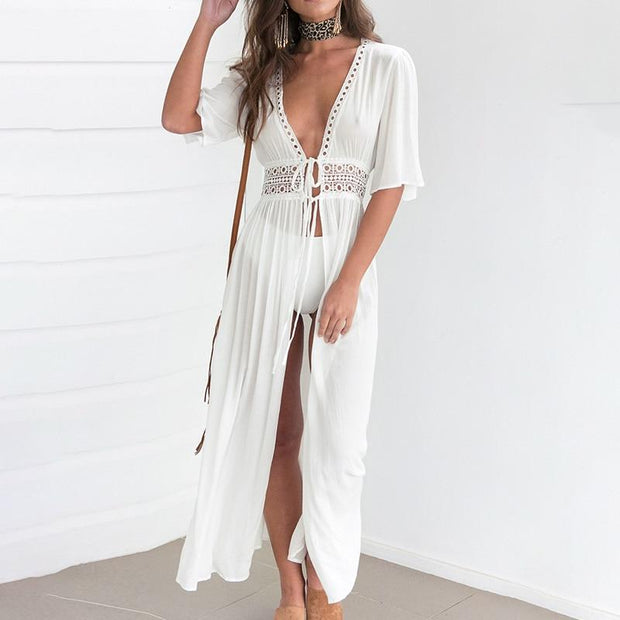 White Embroidered Beach Dress -  bydivstore11