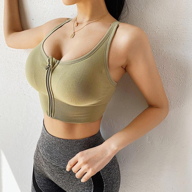 Women's Front Zipper Sports Bra - ByDivStore