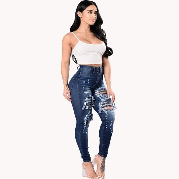 Women's Ultra Stretchy Blue Ripped Jeans - ByDivStore