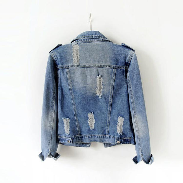 Casual Pattern Women's Denim Jacket - ByDivStore