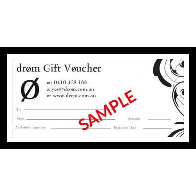 drom  Gift Vouchers - Available in $25, $50, $100 and $150 amounts
