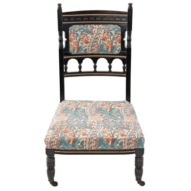 19th Century Victorian Aesthetic Ebonised Nursing Parlour Chair