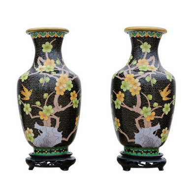 Pair of Hand Painted 20th Century Chinese Vases
