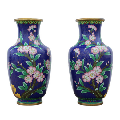 Pair of Hand Painted Mid 20th Century Chinese
