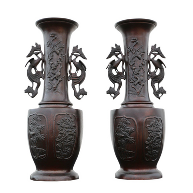 9th Century Meiji Period Pair of Japanese Bronze Vases